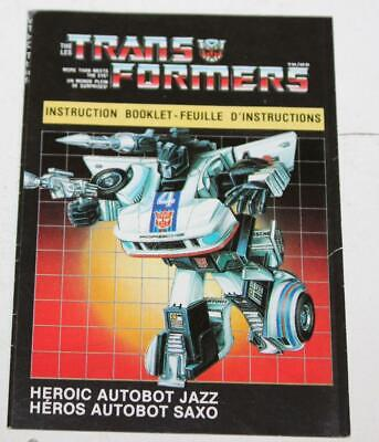 1984 Transformers G1 Autobot Jazz / Saxo Canadian Instruction Book