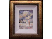 Irish Art SAILING BOAT, CO. ANTRIM COAST Original Oil Painting by DARREN PAUL