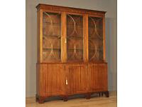 Attractive Large Vintage Mahogany Triple Door Bookcase Display Cabinet