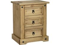 New Solid Corona Mexican Pine 3 drawer petit bedside £59