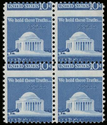 EFO #1510 Var. 10¢ Jefferson Memorial Vertical Block of 4 Horizontal Perf Shift