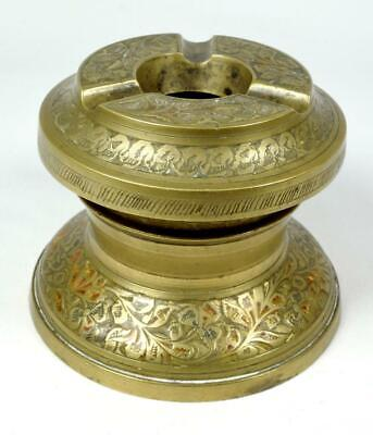 Vintage Indian Enamelled Brass Ashtray with Stand