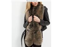 FUR SCARF new look unwanted gift 🎁 long brown very on trend ideal present fastens great over coat