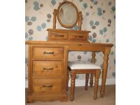 Antique Pine Dressing Table Set