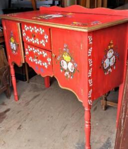 Oakville DISPLAY CABINET Dining Kitchen Cupboard Hand-painted Red BUFFET Vintage Antique Storage Shabby Chic Retro Nice