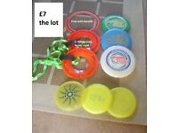 frisbees red ones with ribbon never used red ring free with bundle (slight damage) £6.50 the lot