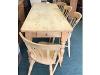 Pine Farmhouse Kitchen Table And Chairs