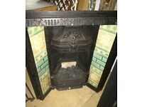 Complete Victorian Cast Iron Fireplace 1900's with ceramic tiles