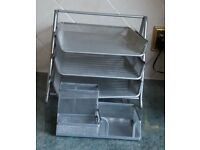 3 Sliding Metal Mesh Paper & Filing Trays complete with Desk Tidy for Pens Pencils, paperclips etc