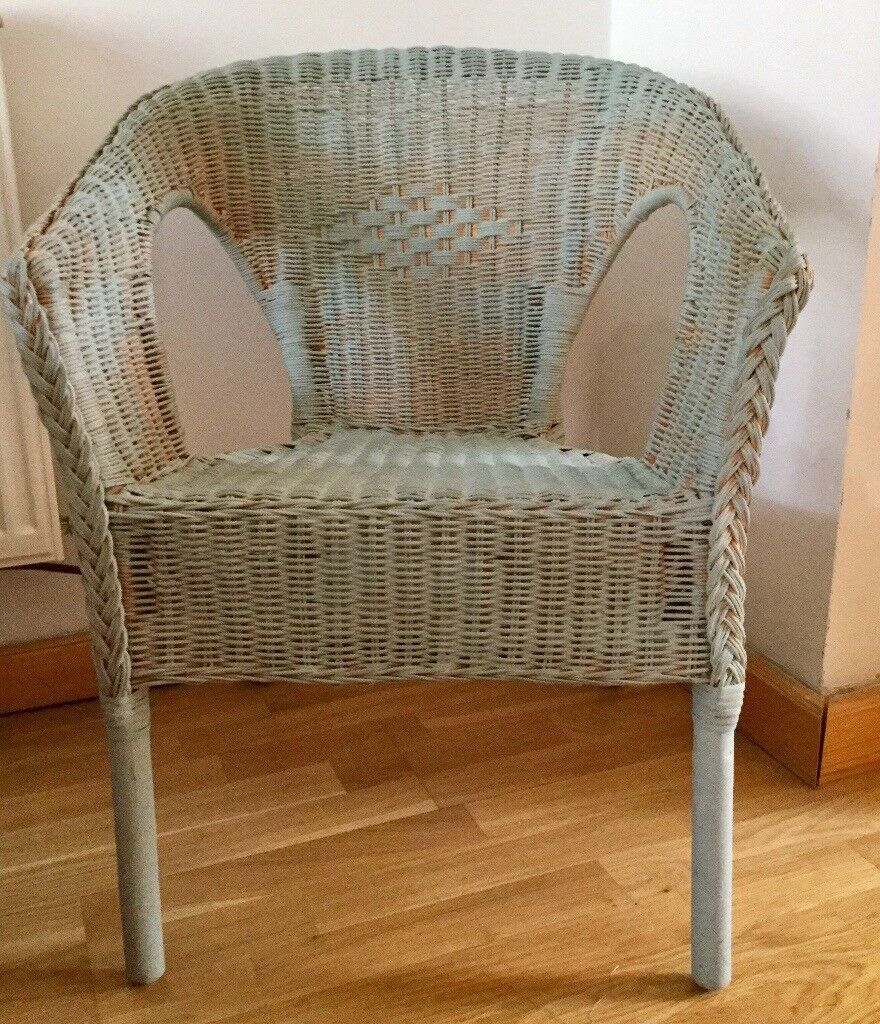 Small Wicker Chair Painted With Duck Egg Blue Annie Sloan Chalk Paint