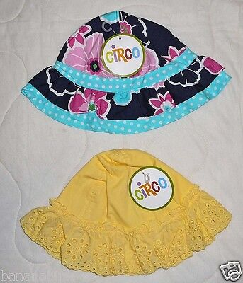 Circo Sun Hat Kids Yellow Blue Flower Girls Infant Baby Toddler
