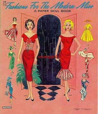 VINTAGE UNCUT 1952 FASHIONS FOR MODERN MISS PAPER DOLLS~#1 REPRO~6 PAGES CLOTHES