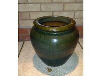 Large Green Terracotta Glazed Garden Plant Pot 13in High x 14in wide
