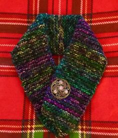 Hand Knitted Snood with Celtic Brooch inspired by the Highlands of Scotland