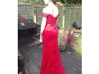 Womens UK-8 Red Off The Shoulder Prom Dress