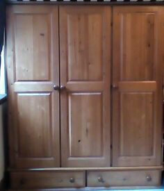 Solid pine wardrobe and matching chest of drawers