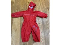 Red Regatta puddle / rain suit aged 6 - 12 months