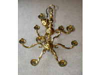 VINTAGE BRASS CHANDELIER - 9 ARMS - SHABBY CHIC - 9 ARMS