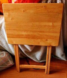 "Pine effect folding table 26.5 x 19 x 14.5"" space saving storage VGC light wood"