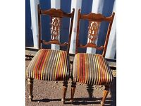 2 x Colored Fabric Dining Chairs, Used