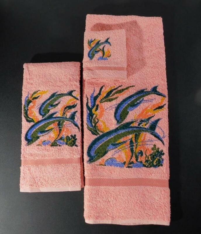 Unused Vintage Dundee DOLPHINS 3 Piece Terry Cloth Bath Towel Set ~ Pink ~ NOS