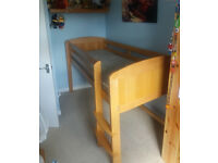 "Solid Beech Mid Sleeper Childrens Bed & Mattress - Aspace ""Lulworth"" Design. Excellent Condition"