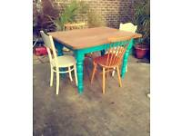 Pine Farmhouse painted Dining Table and Chairs Vintage Retro / Delivery Available