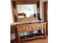HALO LARGE RUSTIC WAXED PLANK PINE CONSOLE TABLE & MATCHING MIRROR