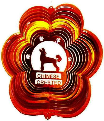 """CHINESE CRESTED WIND SPINNER  -12"""" Dog Stainless Steel LIFETIME RUST WARRANTY"""
