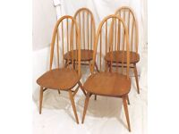 Set of four 4 Ercol vintage retro 1960s 1970s quaker dining chairs