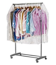 Clothes rail with clear cover