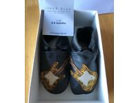 'Inch Blue' soft leather newborn shoes, 0-6 months BNIB