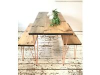 ARTEMIS Handmade Copper Hairpin Dining Table and Two Benches Desk Kitchen Redwood Free Delivery