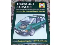 Haynes manual - Renault Espace 1985 to 1996