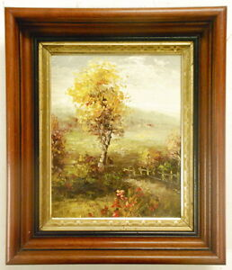 Antique-Style-Oil-Painting-with-Detailed-Wood-Frame-12-034-x14-034-Spring-Landscape