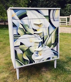 Mid century decoupaged chest of drawers
