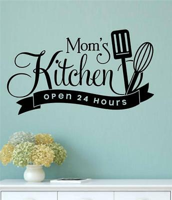 MOM'S KITCHEN OPEN 24 HOURS Vinyl Wall Decal Cafe Bistro Decor Words Quote