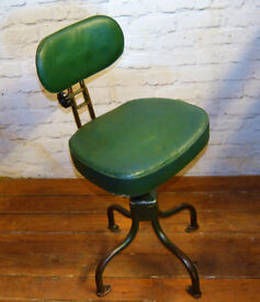 1950s Evertaut industrial swivel office desk chair vintage antique retro metal seating kitchen