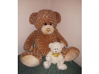 Big and Little I Love You Teddy Bears with curly fur