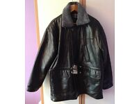 A Spiezia gentleman's soft Italian leather coat, with material lining, Size large.