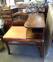 OLD SOLID WOOD TELEPHONE TABLE MISSISSAUGA ANTIQUES & VINTAGE