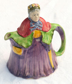 Vintage H.J. Wood Character Teapot Little Old Lady - Large Tea Pot Colourful circa 1930s