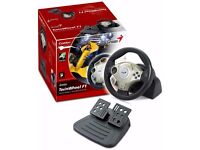 NEW Gaming Genius Twin Wheel F1 - Vibration Feedback Racing Wheel for PC & Play Station with D-Pad