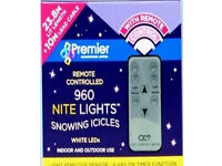 NEW 960 Blue White Snowing Icicles LED Premier With Rem Control / Light Sensor 28 meter long