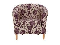 Cranberry floral fabric tub chair as new