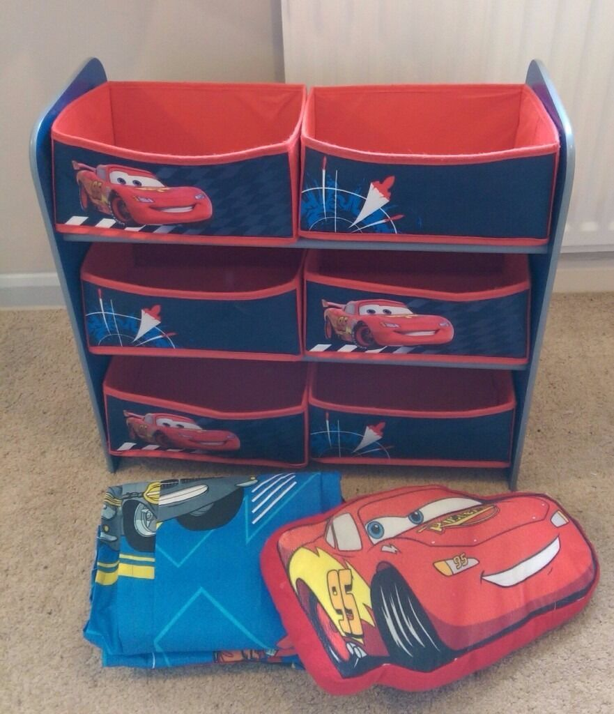 Argos Lightning McQueen Cot Bedding Curtains Toy Storage Unit And Cushion
