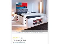 Double storage bed - solid wood - 'Wayfair' - hardly used - free memory foam mattress included.