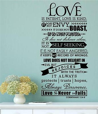 Bible Verse Love Is Patient Kind Vinyl Decal Wall Sticker Word Letter Home - Love Is Kind Love Is Patient