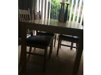 Oak colour Dining table and 4 chairs