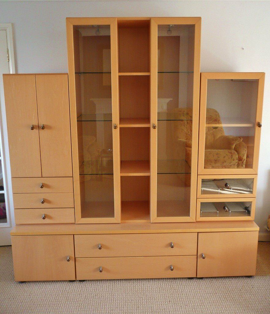 Maple effect display cabinet unit dresser lights glass for John e coyle dining room furniture